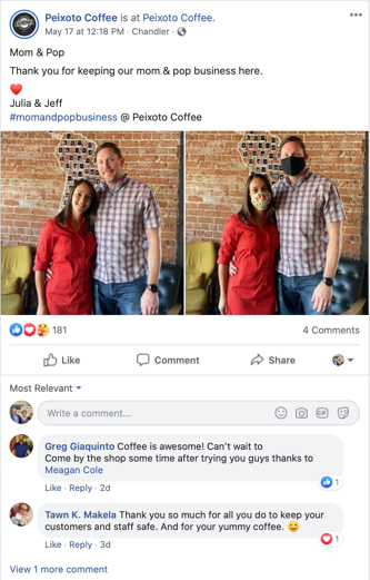 Example of a great social media post from our favorite coffee shop, across the street from our office