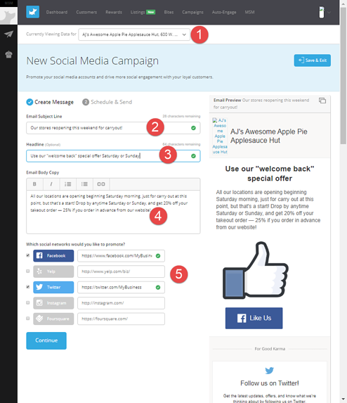 The Social Media Campaign page in the Belly Command Center