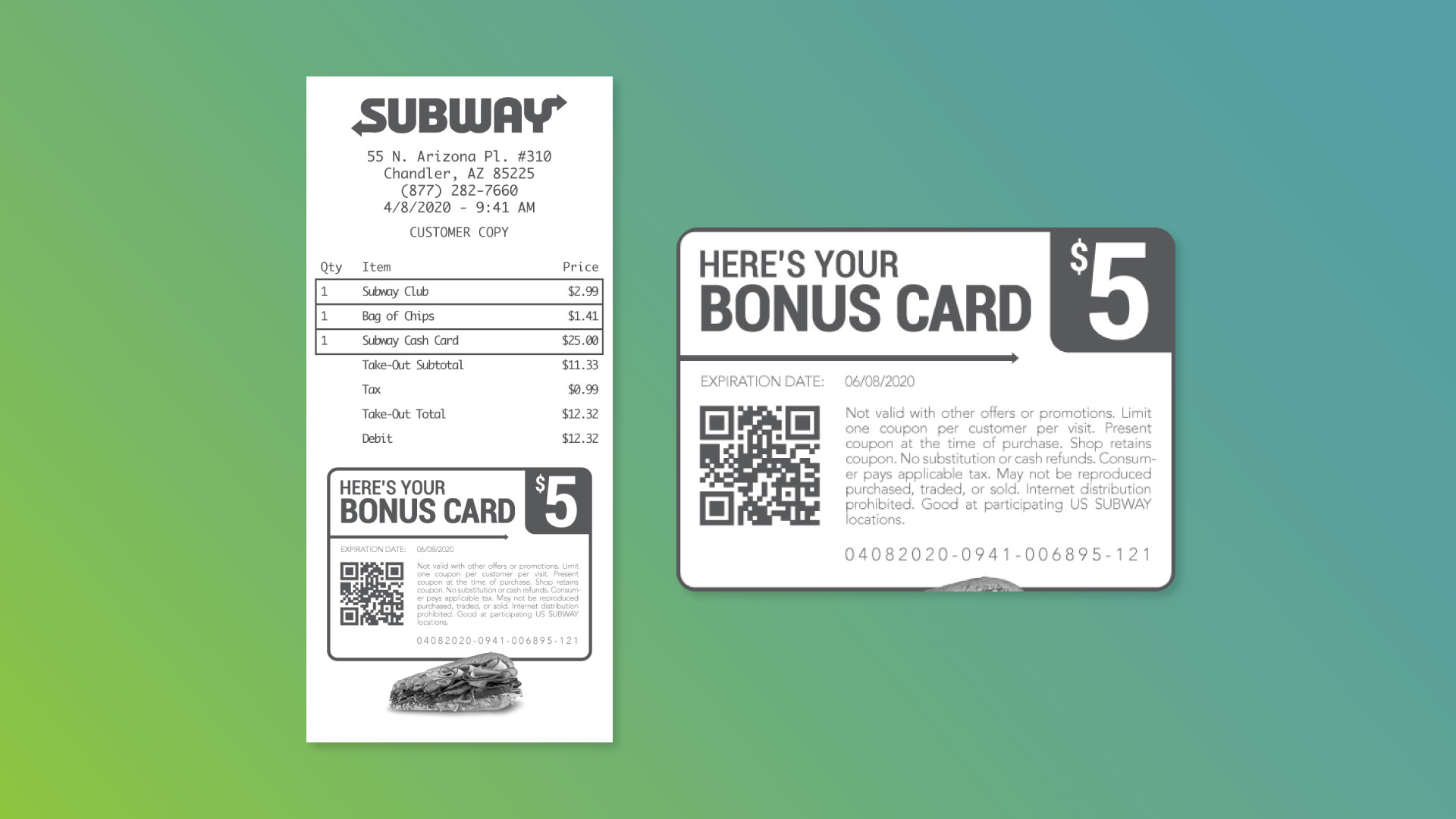 Example Receipt-Printed Card Offer